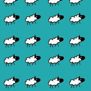 sheeps teal background