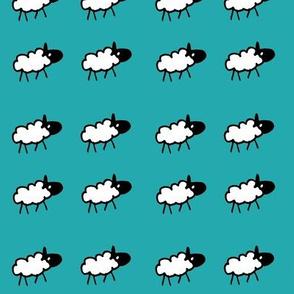 sheeps teal background