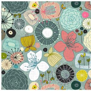 Oriental blooms tea towel
