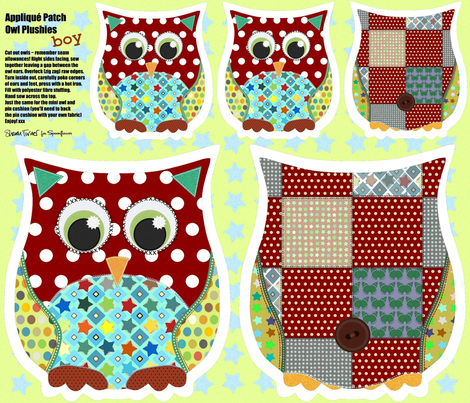 Boy Appliqué Patch Owl Plushies fabric by scrummy on Spoonflower - custom fabric