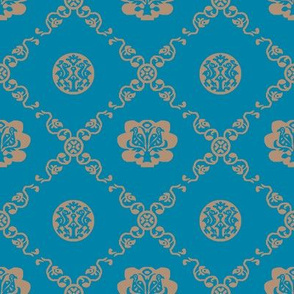 Syrian Medallions-Blue and Tan