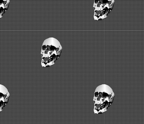 Skulls on grey & black houndstooth fabric by reistrangelove on Spoonflower - custom fabric