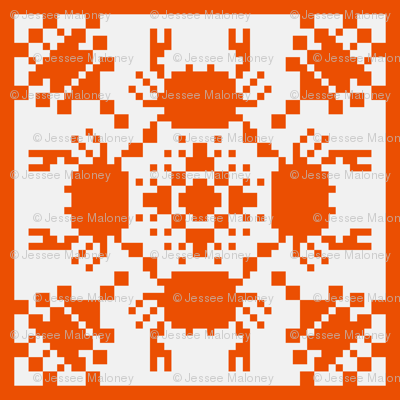8 Bit Crab - Hawaiian Style Cheater Quilt
