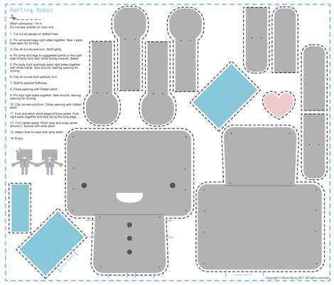 Darling Robot (sewn example shown) fabric by alison-castaldo on Spoonflower - custom fabric