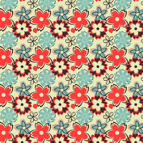 Blue and Red Garden Fandango fabric by eppiepeppercorn on Spoonflower - custom fabric