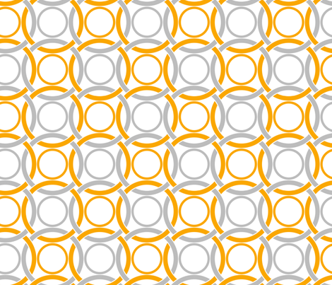 Interlocking circles in citrons fabric by ravynka on Spoonflower - custom fabric
