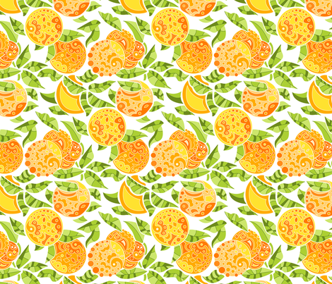 Doodly Oranges! fabric by katrinazerilli on Spoonflower - custom fabric