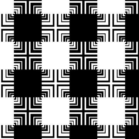 Black & White Square Ripple Plaid fabric by pond_ripple on Spoonflower - custom fabric
