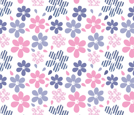 Lazy Daisy Print fabric by rui_rui on Spoonflower - custom fabric