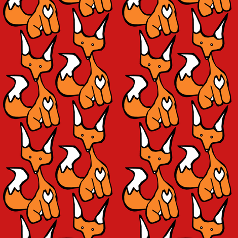 Red Foxy fabric by pond_ripple on Spoonflower - custom fabric