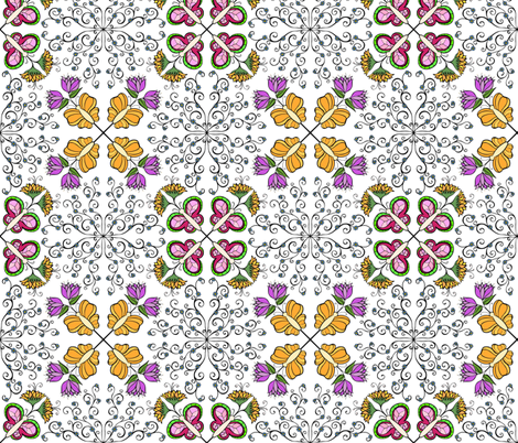 Flowers and Butterflys  fabric by samvanvoorst on Spoonflower - custom fabric
