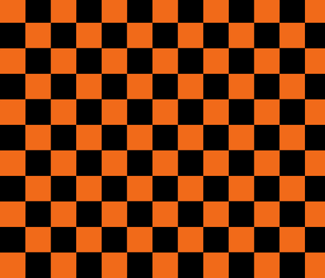 Checker, orange and black,