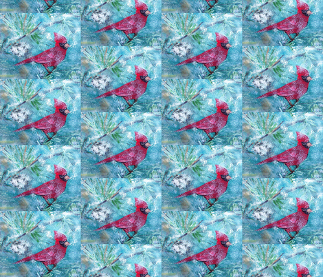Cardinal on a snowy day fabric by dogdaze_ on Spoonflower - custom fabric
