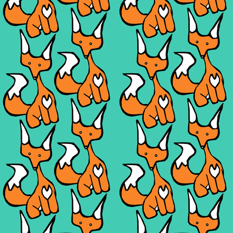 Teal Foxy fabric by pond_ripple on Spoonflower - custom fabric