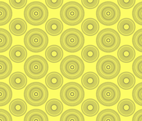 Yellow and Grey Medallions fabric by bluenini on Spoonflower - custom fabric