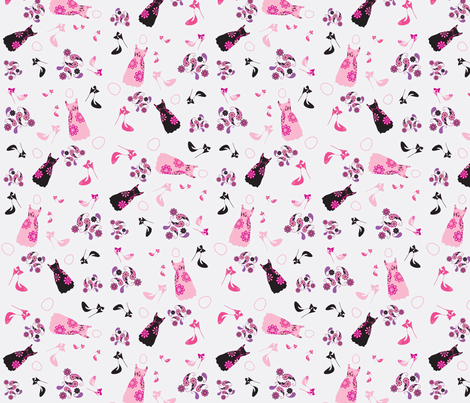 Fashion Shoes and Dresses Wallpaper fabric by studio30 on Spoonflower - custom fabric