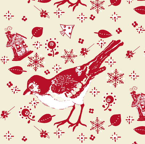 birdie's house / winter fabric by paragonstudios on Spoonflower - custom fabric