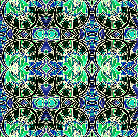 Victorian Windows (midnight) fabric by edsel2084 on Spoonflower - custom fabric
