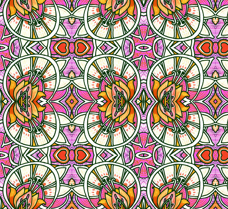 Victorian Windows (pink) fabric by edsel2084 on Spoonflower - custom fabric