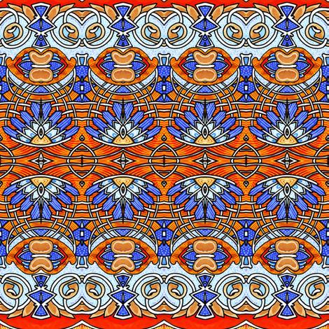Little Orange Blue Feather stripe fabric by edsel2084 on Spoonflower - custom fabric