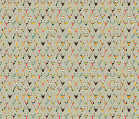 retro deer head stone tiny fabric by scrummy on Spoonflower - custom fabric