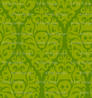 Spooky Damask - Ghoulishly Green