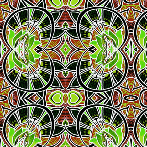 Victorian Windows at midnight (larger scale) fabric by edsel2084 on Spoonflower - custom fabric