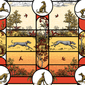 Autumn Greyhound Stained Glass