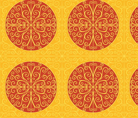 Curls and colour. Yellow and orange fabric by samvanvoorst on Spoonflower - custom fabric
