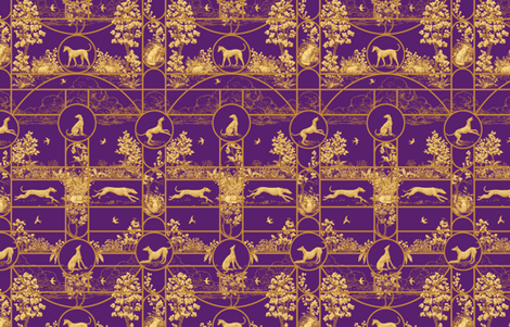 Autumn Greyhounds Purple ©2011 by Jane Walker fabric by artbyjanewalker on Spoonflower - custom fabric
