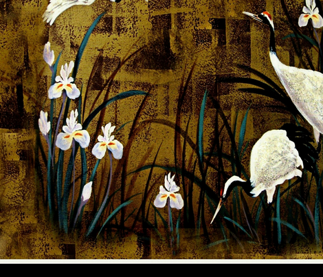 crane's and orchids  fabric by paragonstudios on Spoonflower - custom fabric