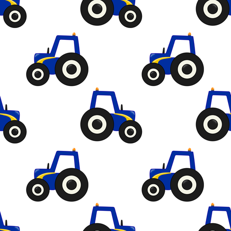 Blue Tractor fabric by zo-ella on Spoonflower - custom fabric