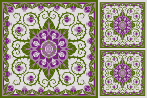 Deadly Nightshade Hawaiian Quilt ( with bonus pillow fronts for larger bolts) fabric by ceanirminger on Spoonflower - custom fabric