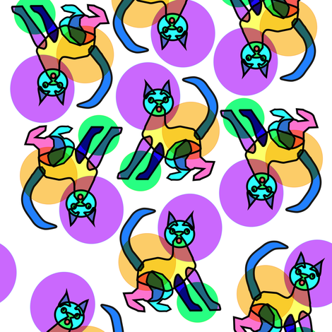 Rainbow bubble stained glass cat fabric by eclectic_house on Spoonflower - custom fabric