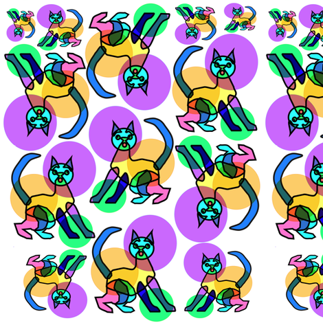 Rainbow bubble stained glass cat 2 fabric by eclectic_house on Spoonflower - custom fabric