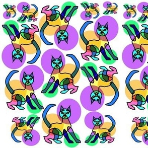 Rainbow bubble stained glass cat 2