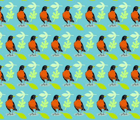 robins on blue fabric by junej on Spoonflower - custom fabric