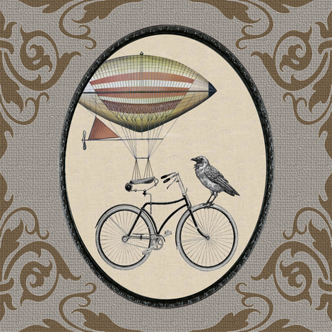 Dirigible Bicycle fabric by novelatelier on Spoonflower - custom fabric