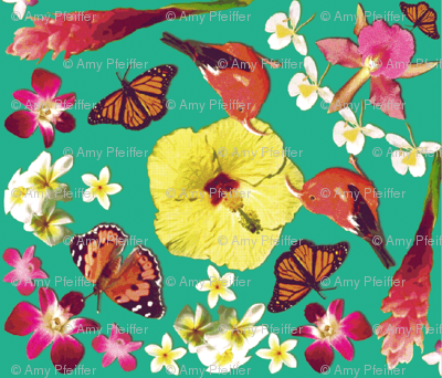 Birds, butterflies and flowers