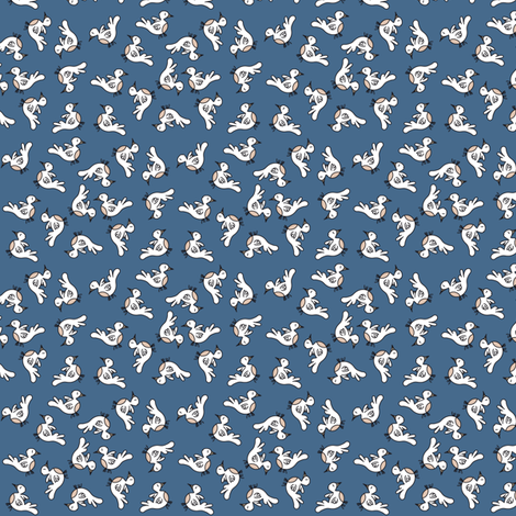 Tiny Birds - blue fabric by catru on Spoonflower - custom fabric