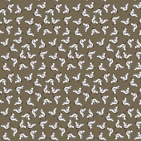 Tiny Birds - dark brown fabric by catru on Spoonflower - custom fabric