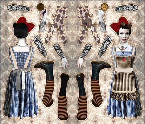 Alice in Steamland Doll Pattern fabric by novelatelier on Spoonflower - custom fabric