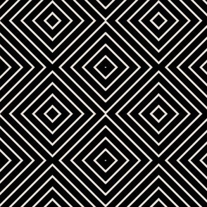 Concentric square tile black and champagne