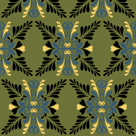 Feminine Nature in blue and green fabric by vo_aka_virginiao on Spoonflower - custom fabric