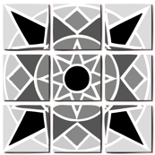 Tile pattern star sun Black grey and white
