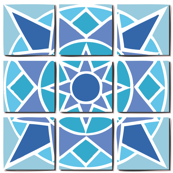 Tile pattern star sun blue