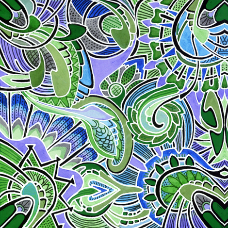 Mint and Shamrock at Play fabric by edsel2084 on Spoonflower - custom fabric
