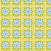 Tile pattern star sun yellow green blue and purple smaller