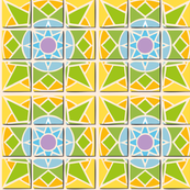 Tile pattern star sun yellow green blue and purple