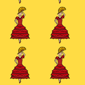 Spanish lady in red and white with Yellow background tiled
